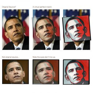 Comparison of obama photos to Fairey poster